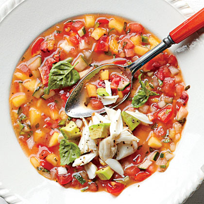 Summer Gazpacho with Avocado West Indies Salad