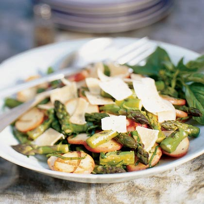 Grilled Potatoes and Asparagus with Basil and Parmesan