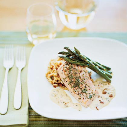 Oven-Baked Salmon with Picholine Olive Sauce