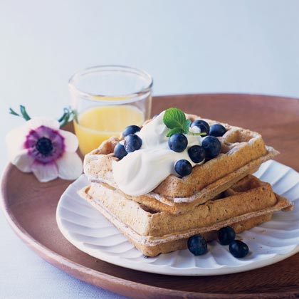 Blue Corn Waffles with Lavender Cream and Fresh Blueberries