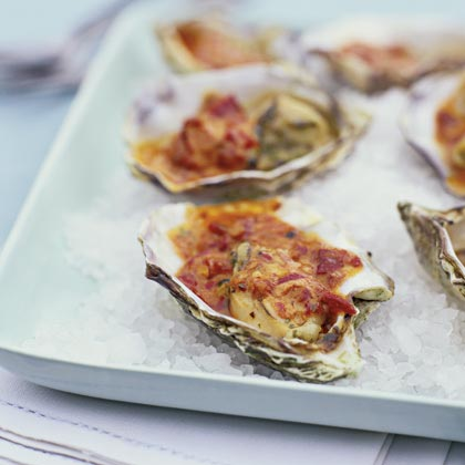 Grilled Oysters with Chipotle Glaze