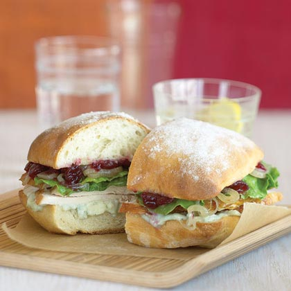 Turkey Sandwiches with Shallots, Cranberries, and Blue Cheese