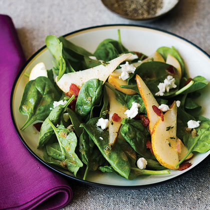 Spinach, Pear, and Pancetta Salad