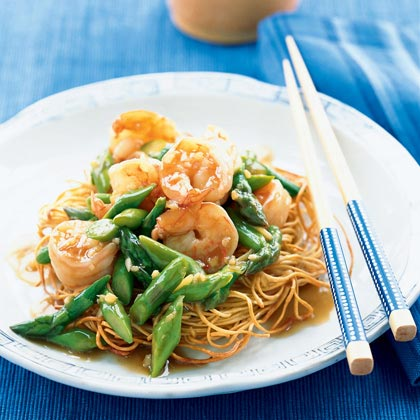 Asparagus and Shrimp Stir-Fry on Noodle Pillows