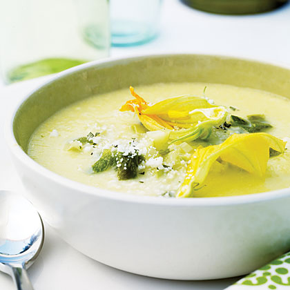Corn Soup with Roasted Poblanos and Zucchini Blossoms
