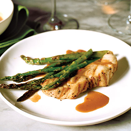 Spicy Soy-Ginger Grilled Sea Bass with Asparagus