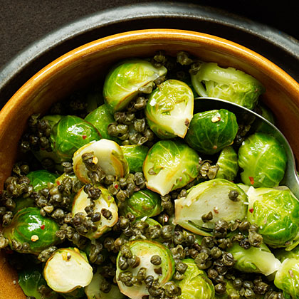Spicy Brussels Sprouts with Fried Capers