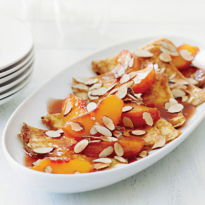Crêpes with Warm Cognac Peaches and Almonds