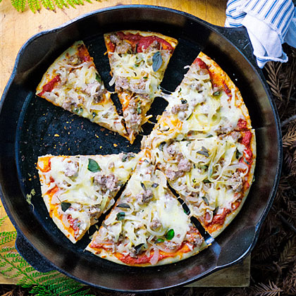 Camp Pizza with Caramelized Onions, Sausage, and Fontina