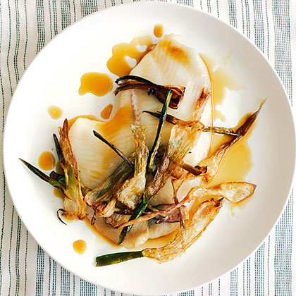 Sole Fillets with Spring Onion  Hay