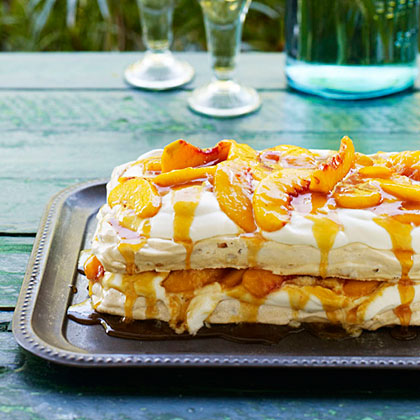 Almond Pavlova with Peaches, Cream, and Salted Peach Caramel