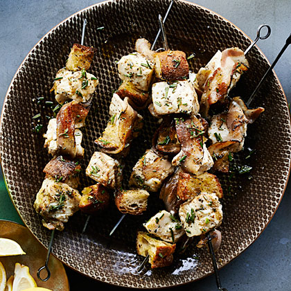 Halibut Kebabs with Grilled Bread and Pancetta