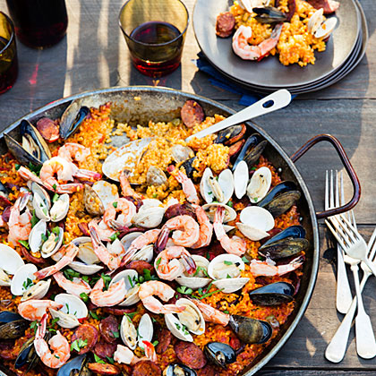 Grilled Seafood and Chorizo Paella