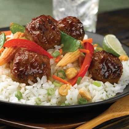 al fresco® Basmati and Snow Pea Stir Fry with Teriyaki Chicken Meatballs