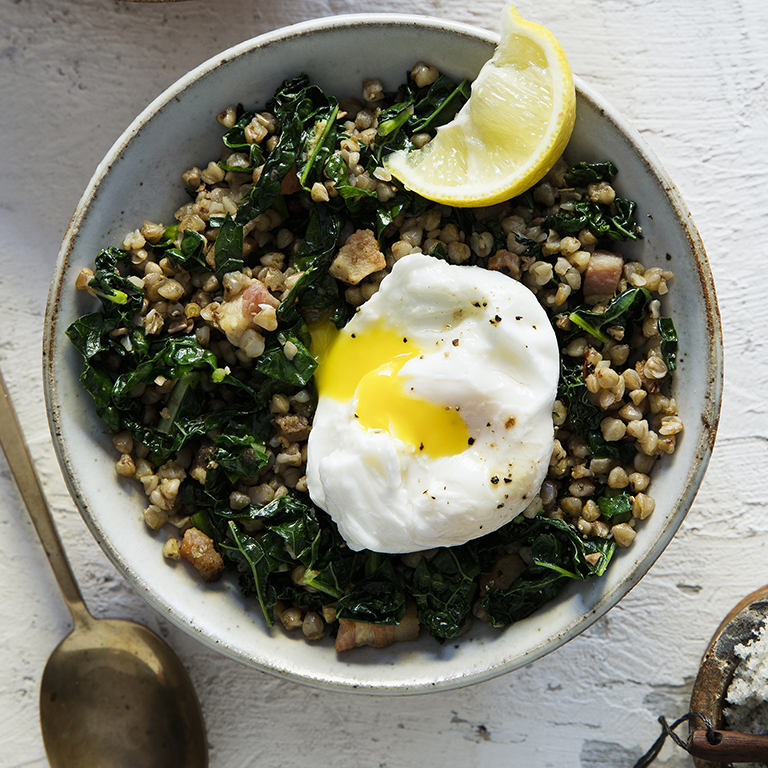 Kasha with Kale and Pancetta