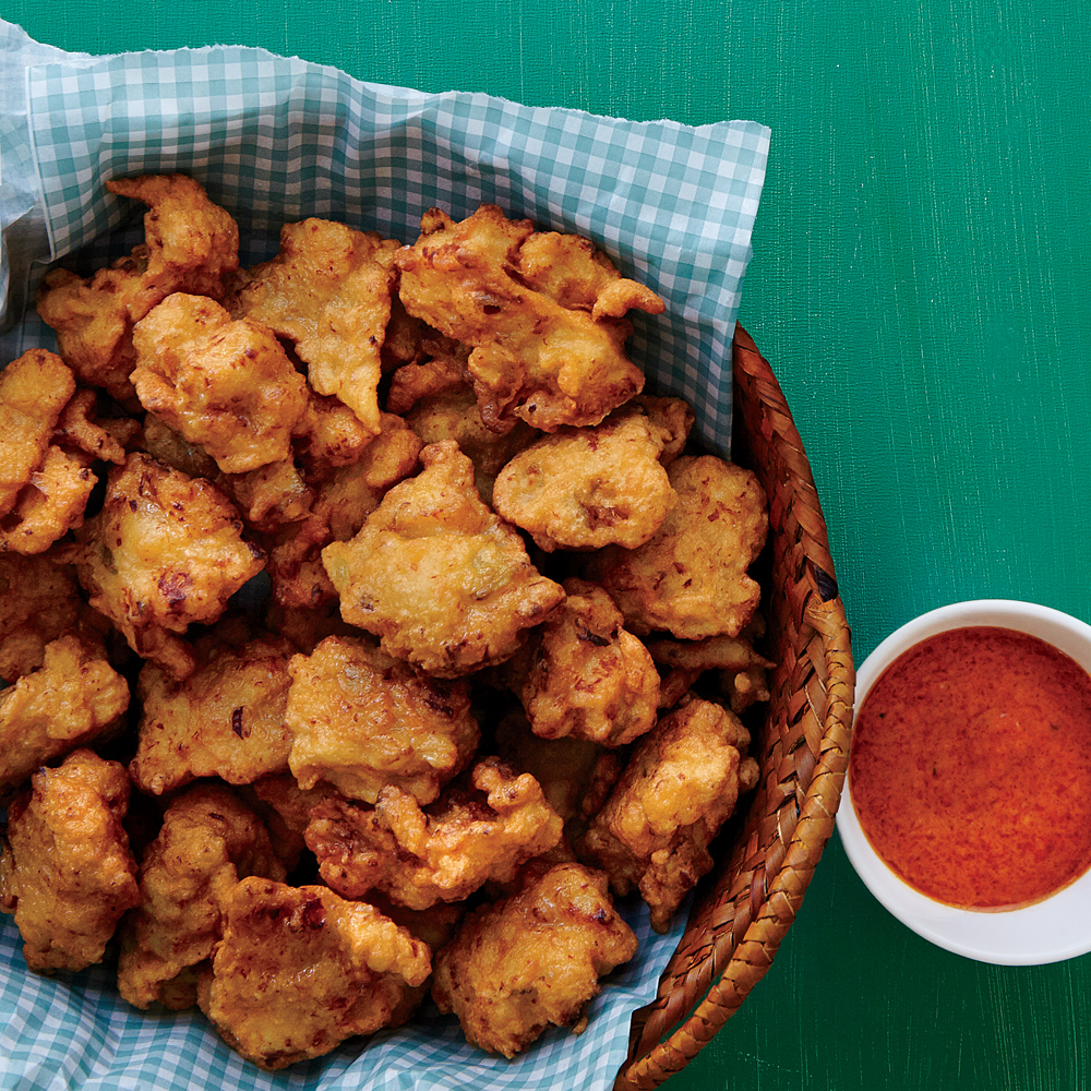 Lionfish Fritters with Red Bell Pepper Coulis