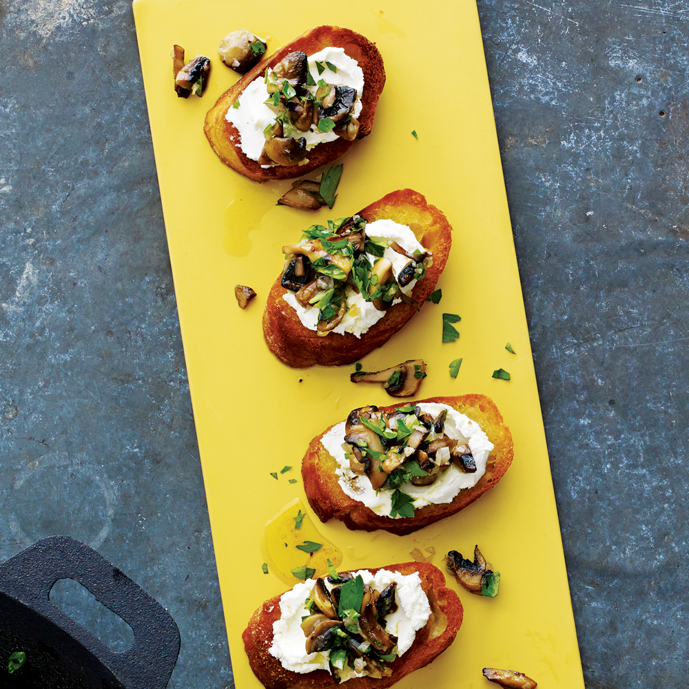 Mushroom and Goat Cheese Bruschetta
