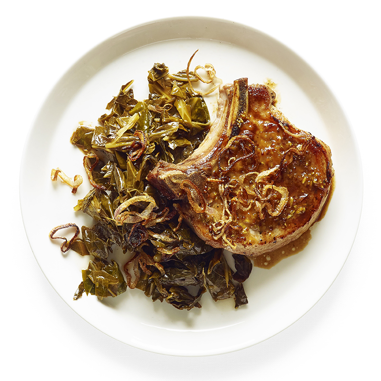 Pan-Roasted Pork Chops with Quick Pickled Greens