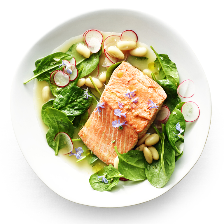 Poached Salmon with White Bean and Radish Salad