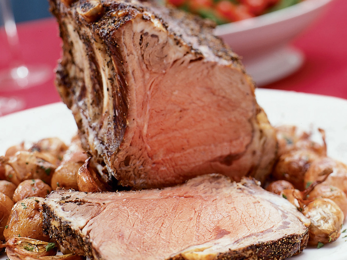 Lemon- and Pepper-crusted Prime Rib Roast with Root Vegetables