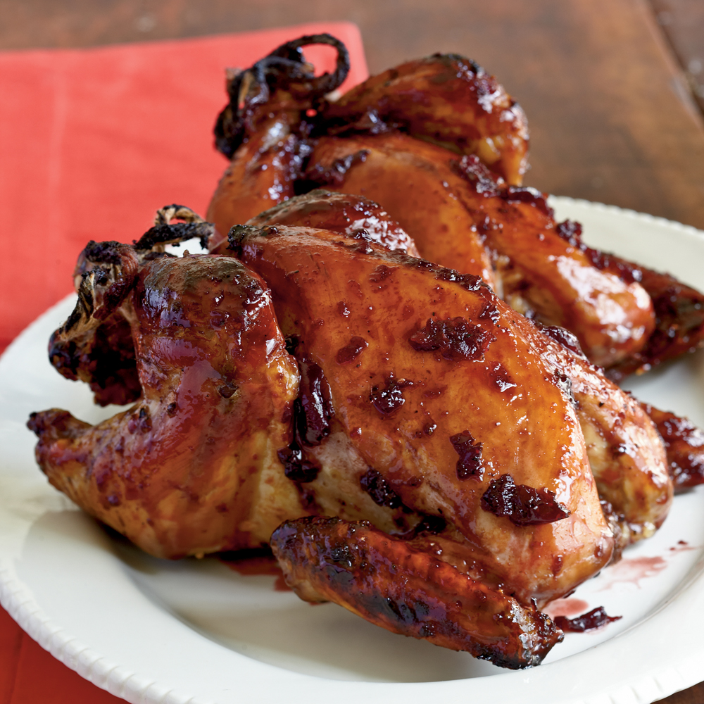 Roasted Cornish Hens with Cherry-Port Glaze