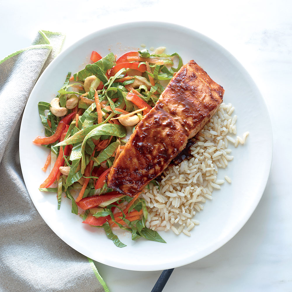 Salmon with Lime-Hoisin Glaze with Crunchy Bok Choy Slaw