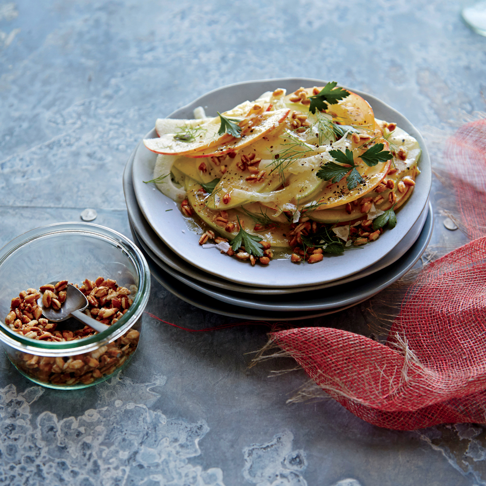 Shaved Apple and Fennel Salad with Crunchy Spelt
