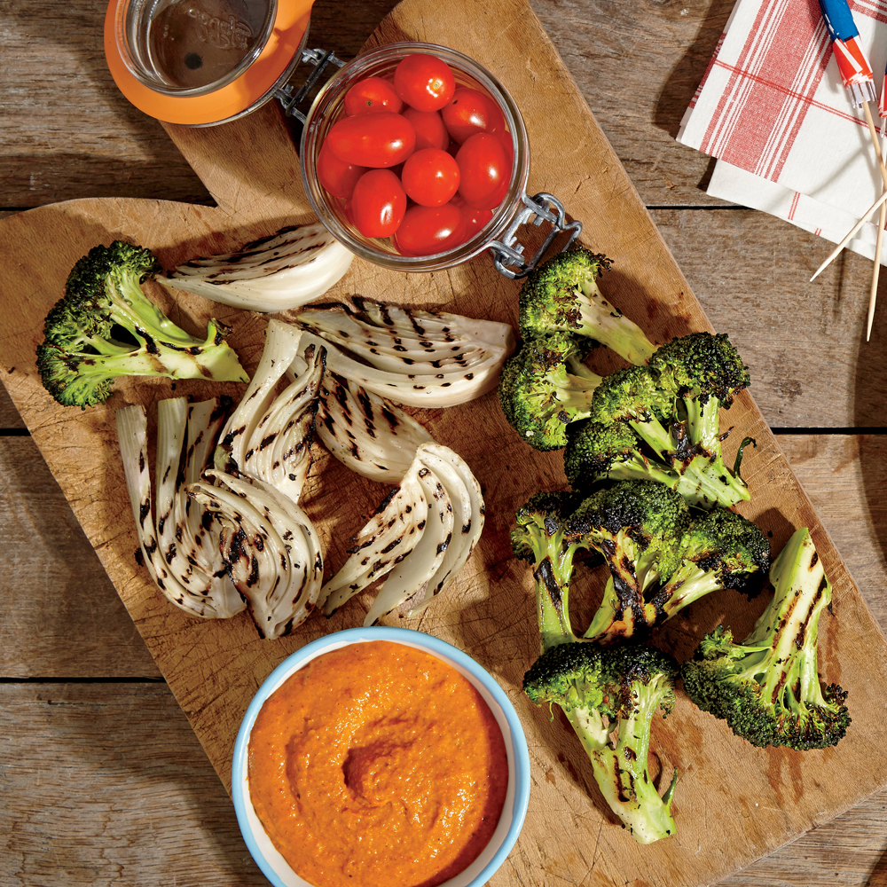Smoky Red Pepper Dip with Grilled Crudités