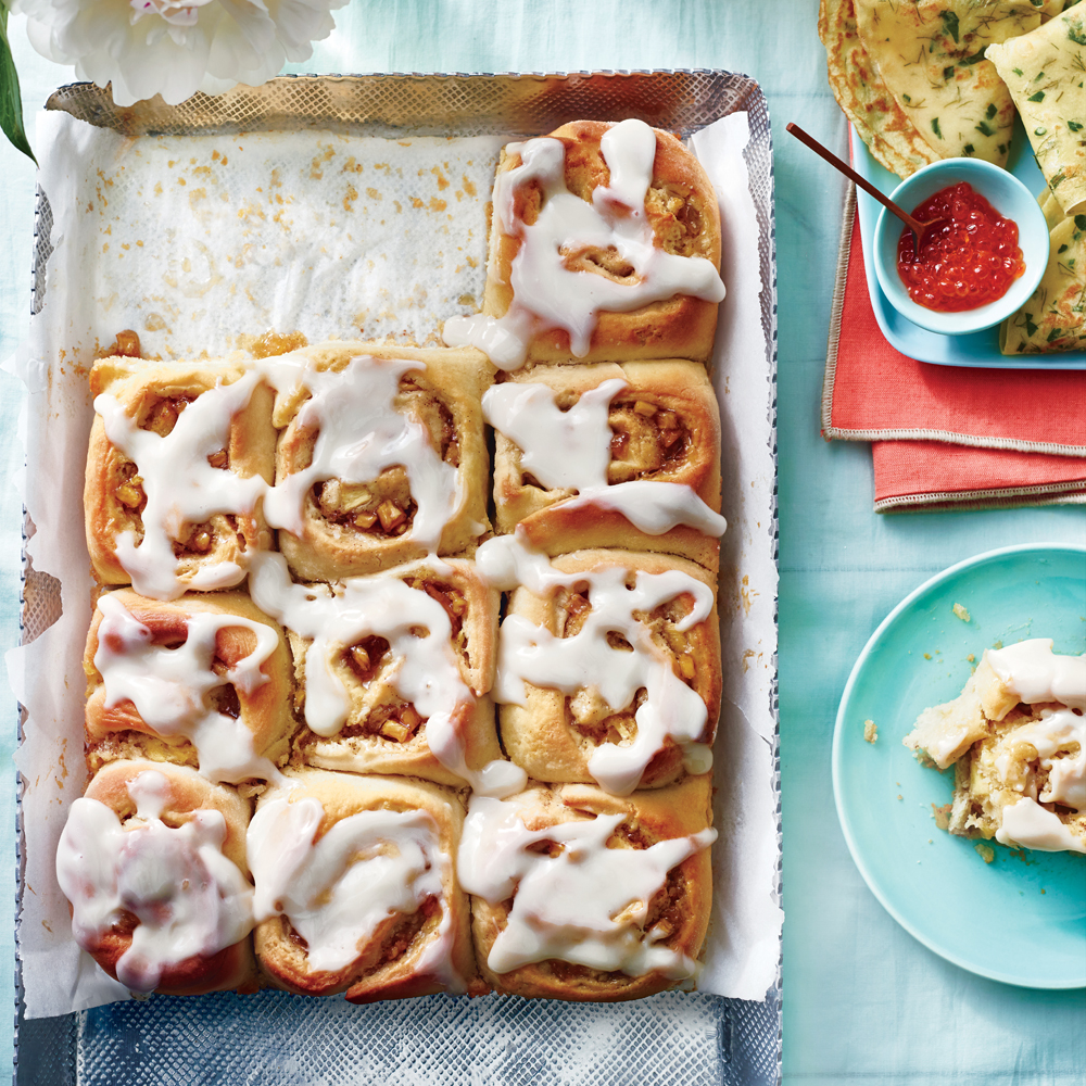 Spiced Pineapple Rolls with Rum-Cream Cheese Glaze