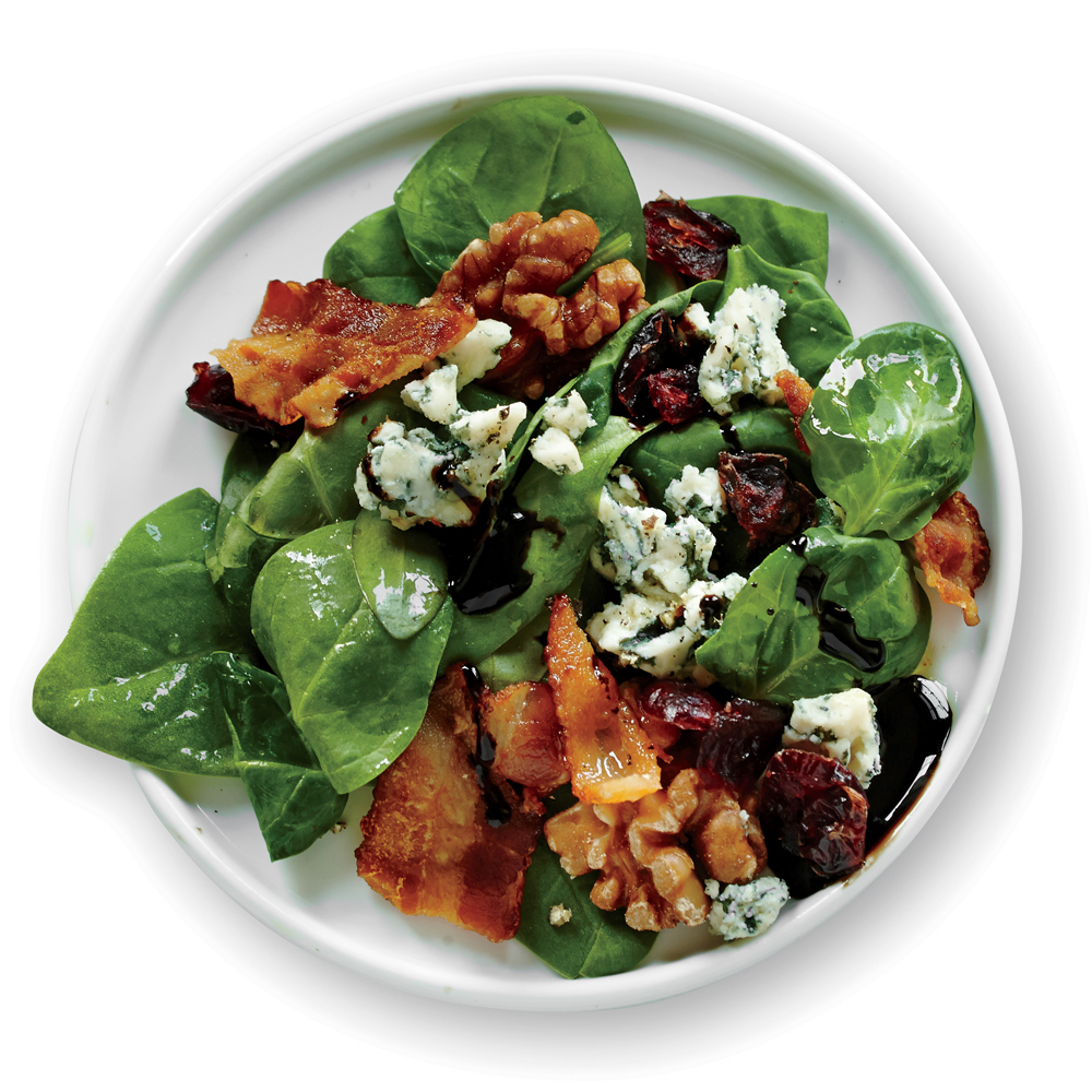 Spinach Salad with Bacon, Walnuts, and Blue Cheese