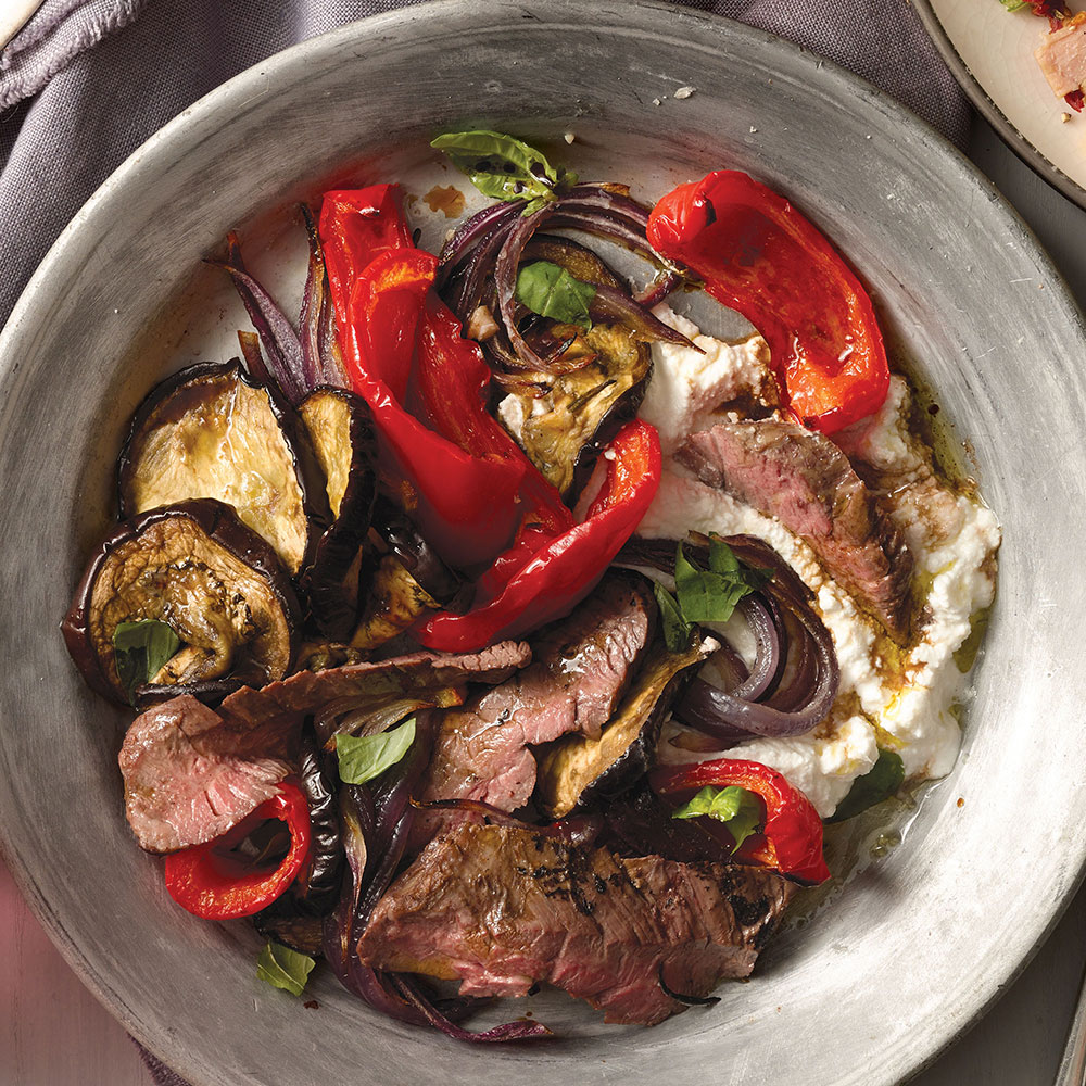 Steak Salad with Eggplant, Peppers and Onion