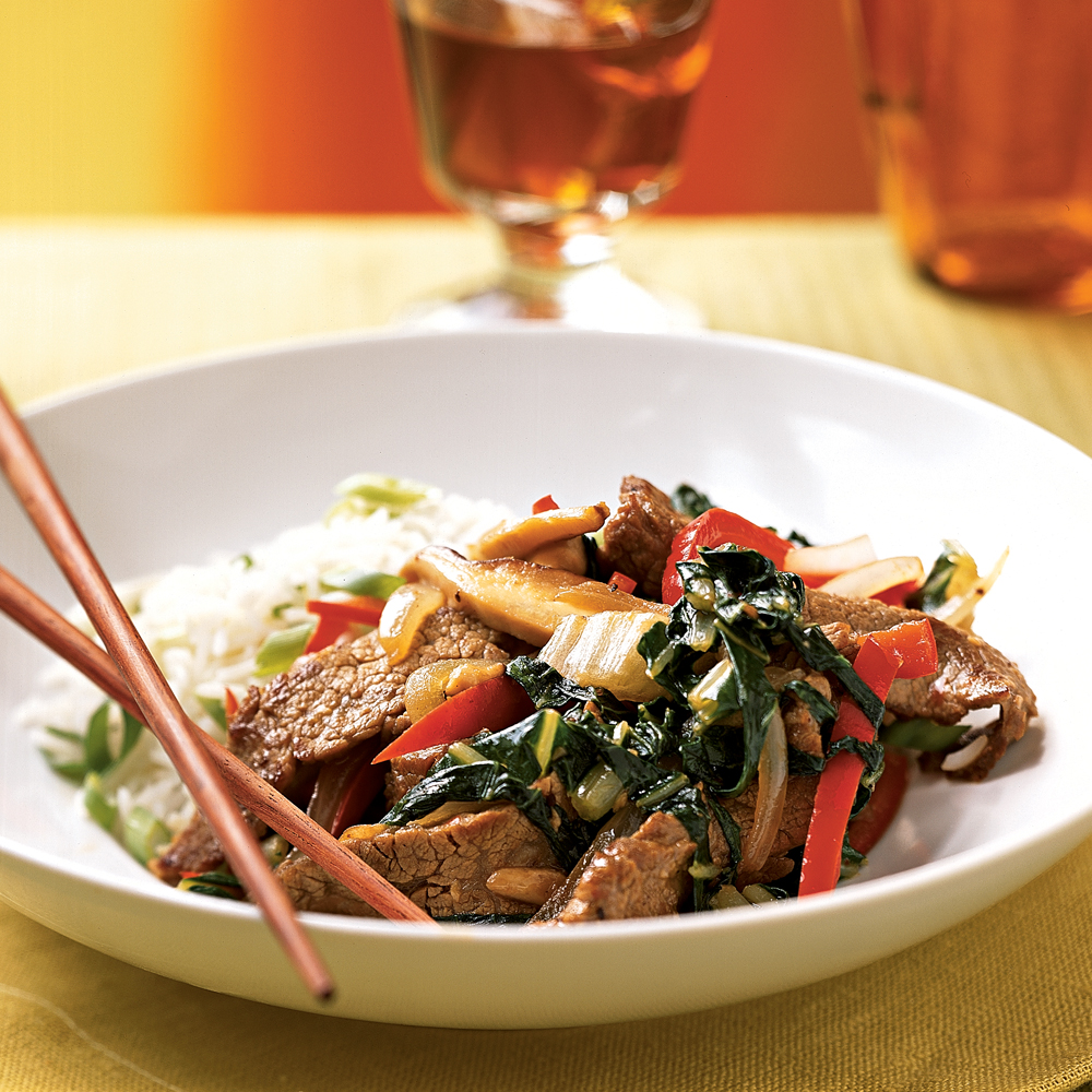 Steak, Shiitake, and Bok Choy Stir-Fry