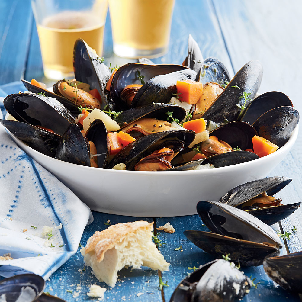 Steamed Mussels with Root Vegetables