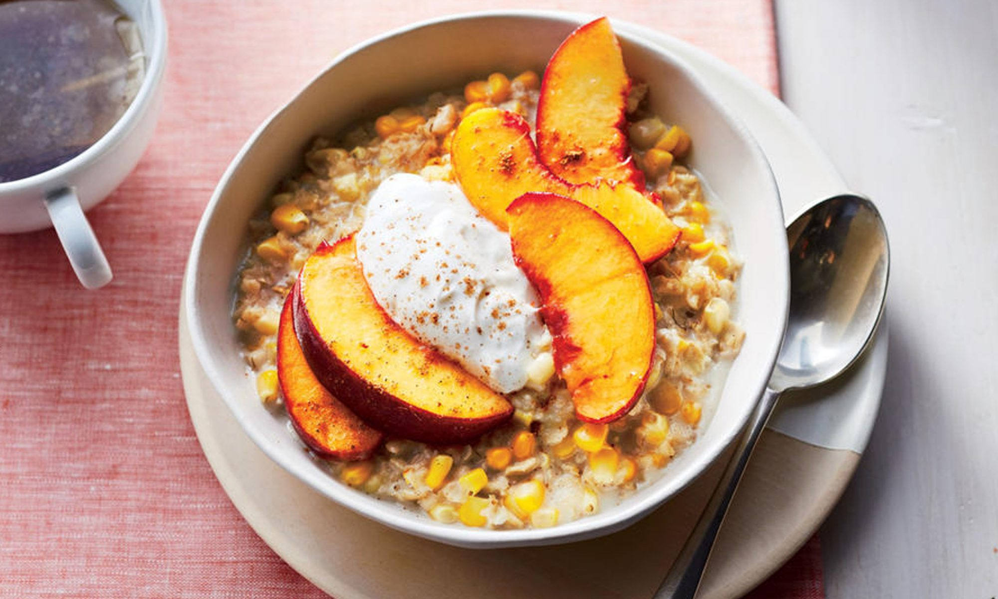 EC: Sweet Corn Oatmeal with Peaches