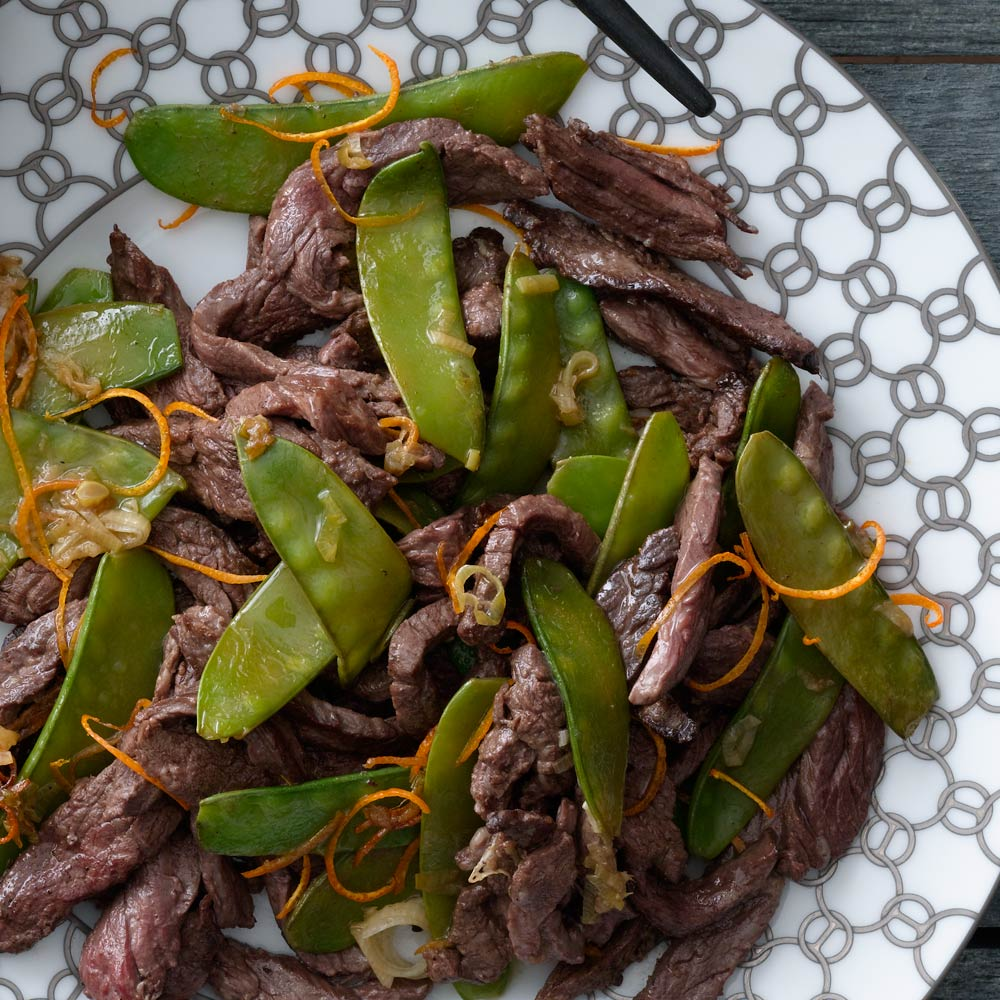 Tangerine Beef With Snow Peas