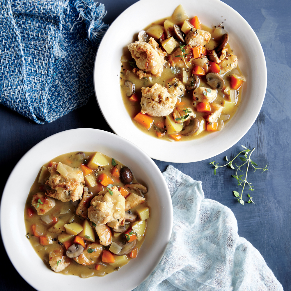 Turkey and Vegetable Stew with Whole-Grain Biscuits
