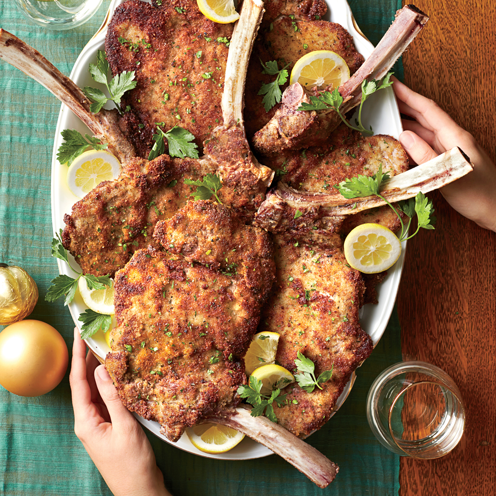 Veal Chops Milanese with Lemon and Herbs