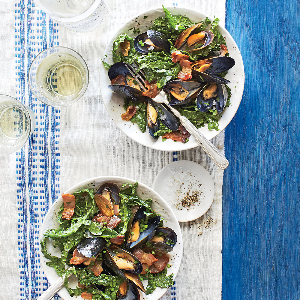 Warm Kale Salad with Mussels and Bacon