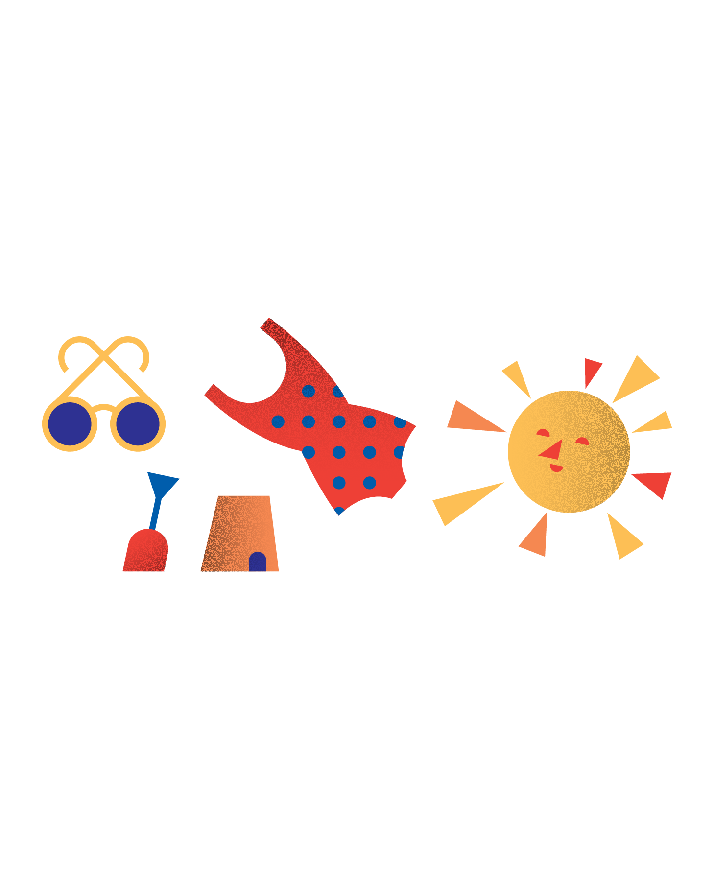 Illustration of the sun, a bathing suit, sunglasses, and a shovel and pail (30)