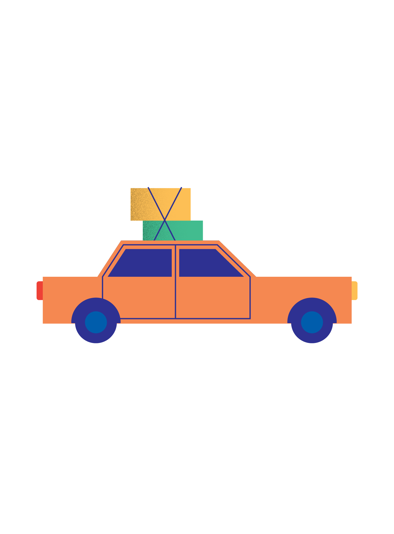 Illustration of a car with boxes strapped to it (33)
