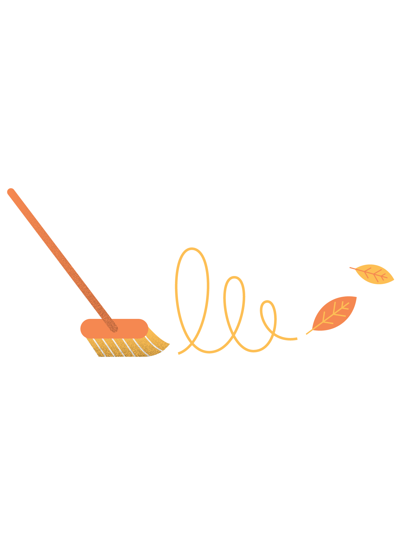 Illustration of a broom and autumn leaves (1)