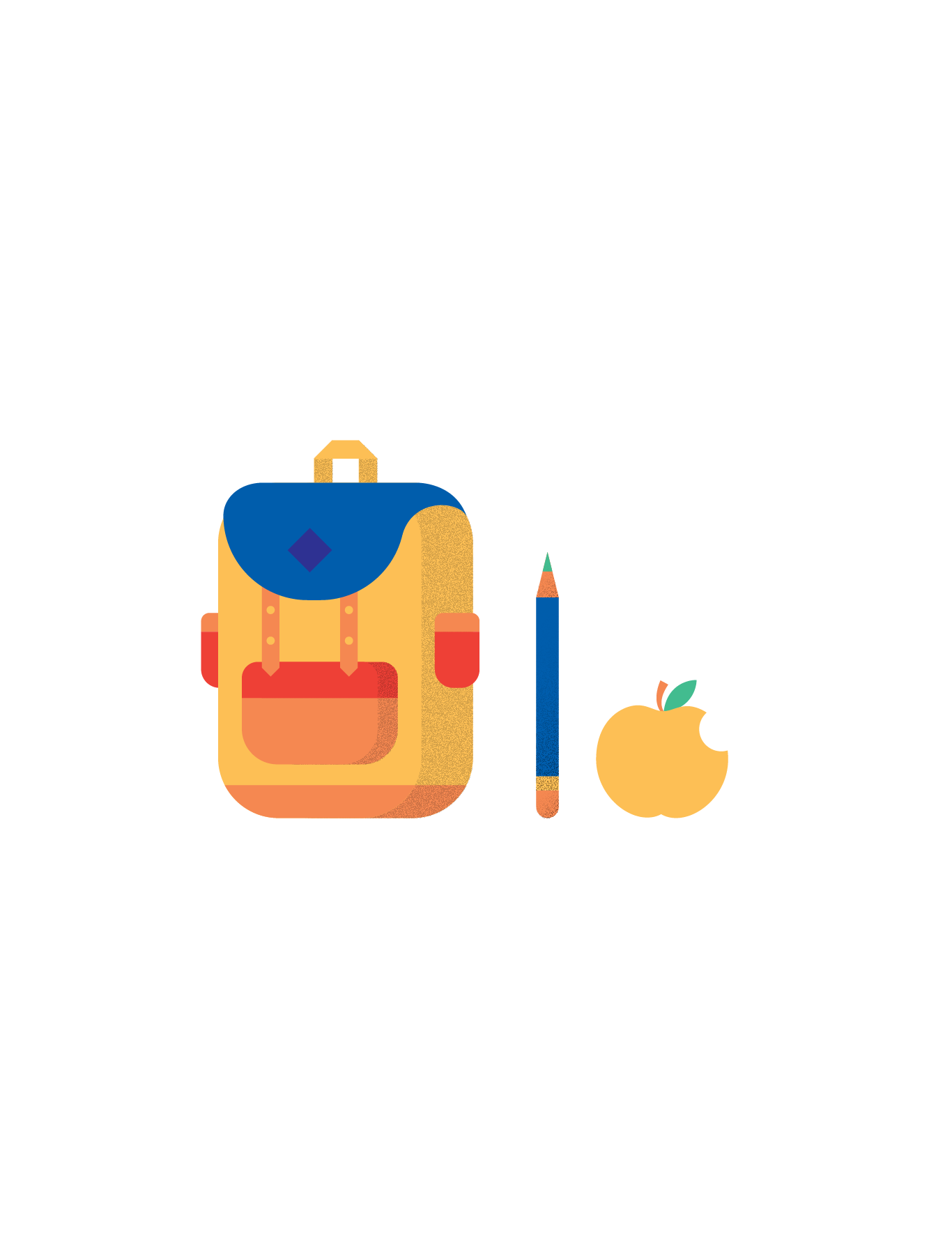 Illustration of a backpack, a pencil, and an apple (39)