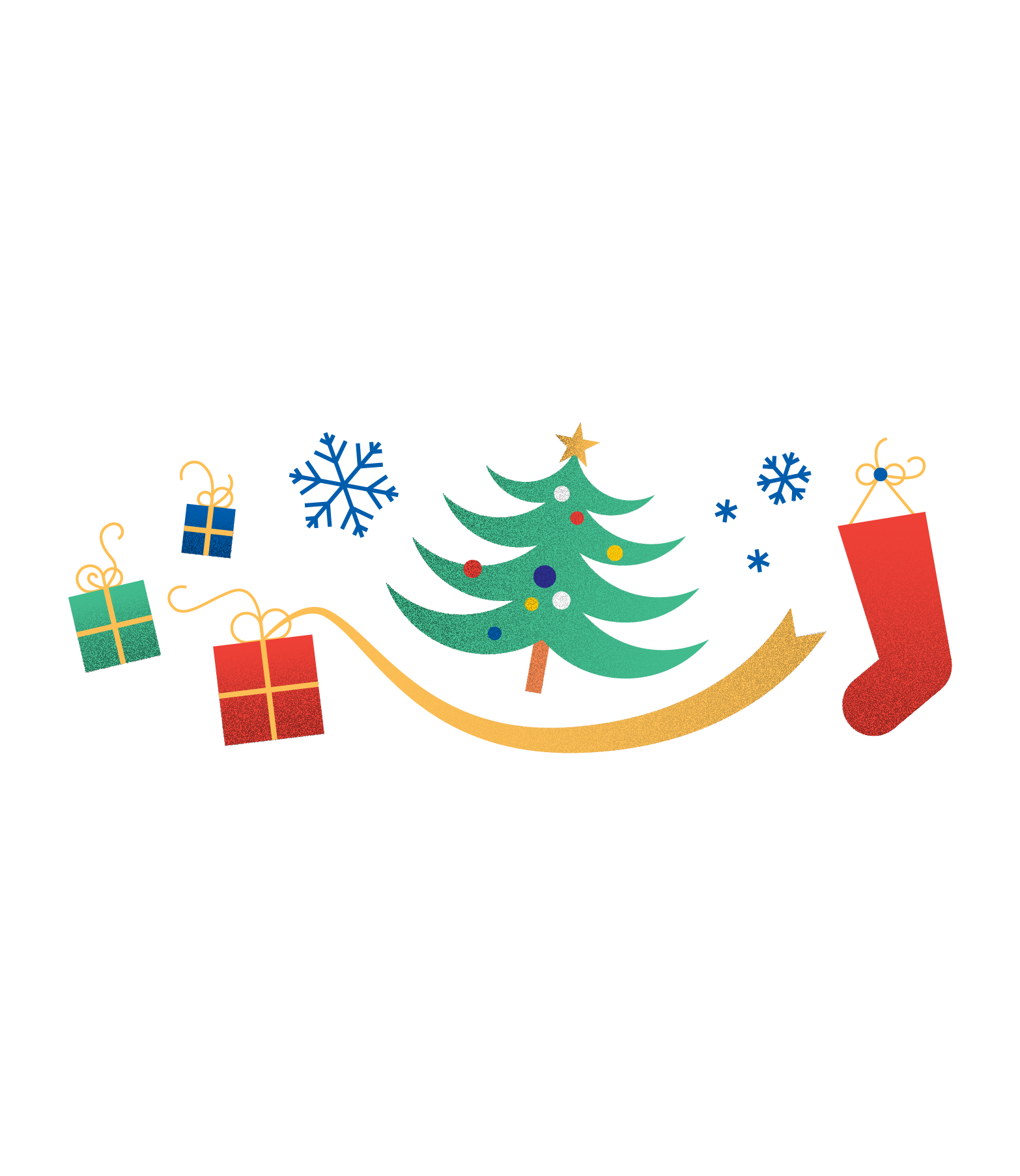 Illustration of a Christmas tree, snowflakes, a stocking, and presents (75)