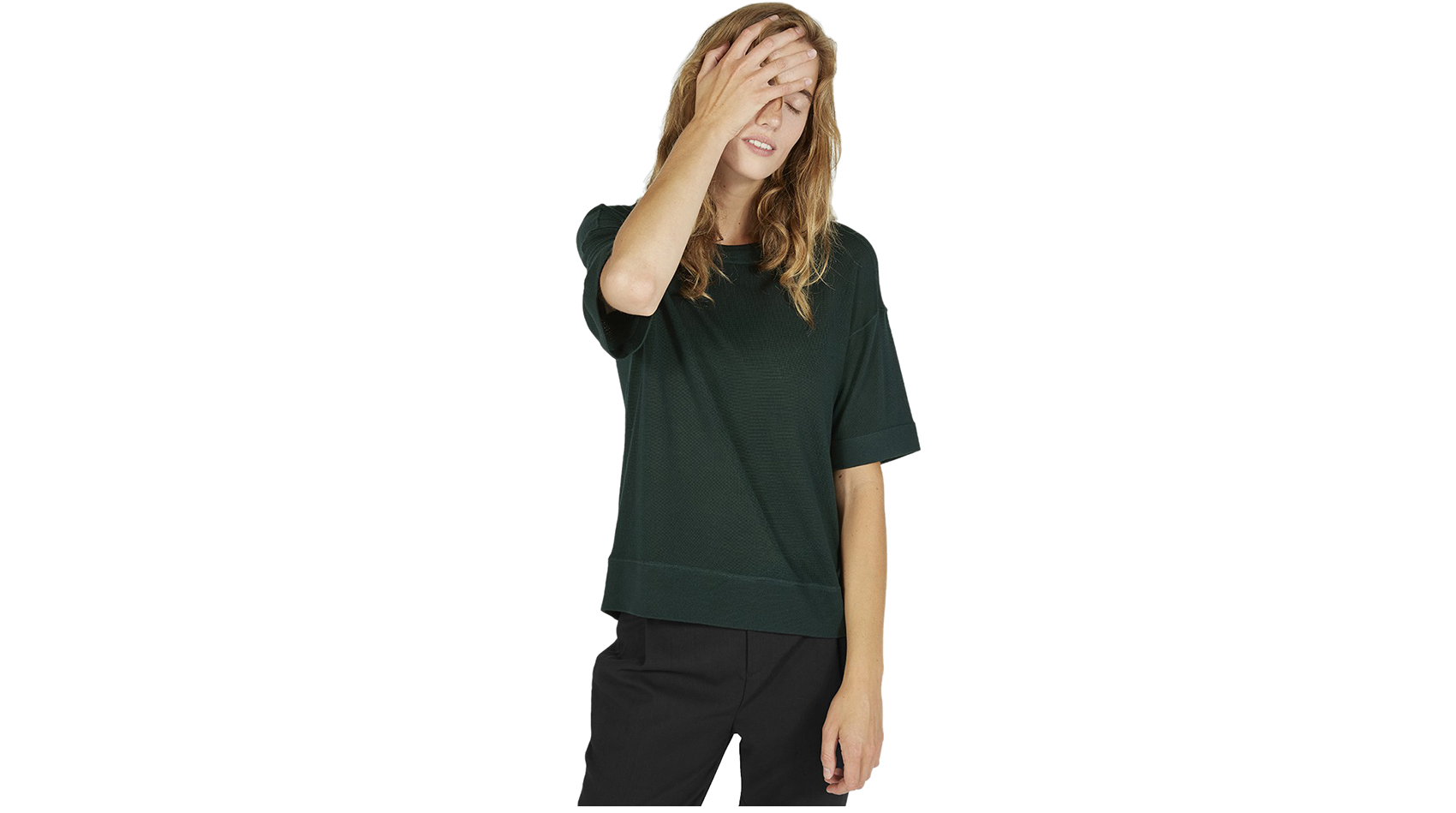 Everlane Luxe Sweater mid-sleeve Emerald