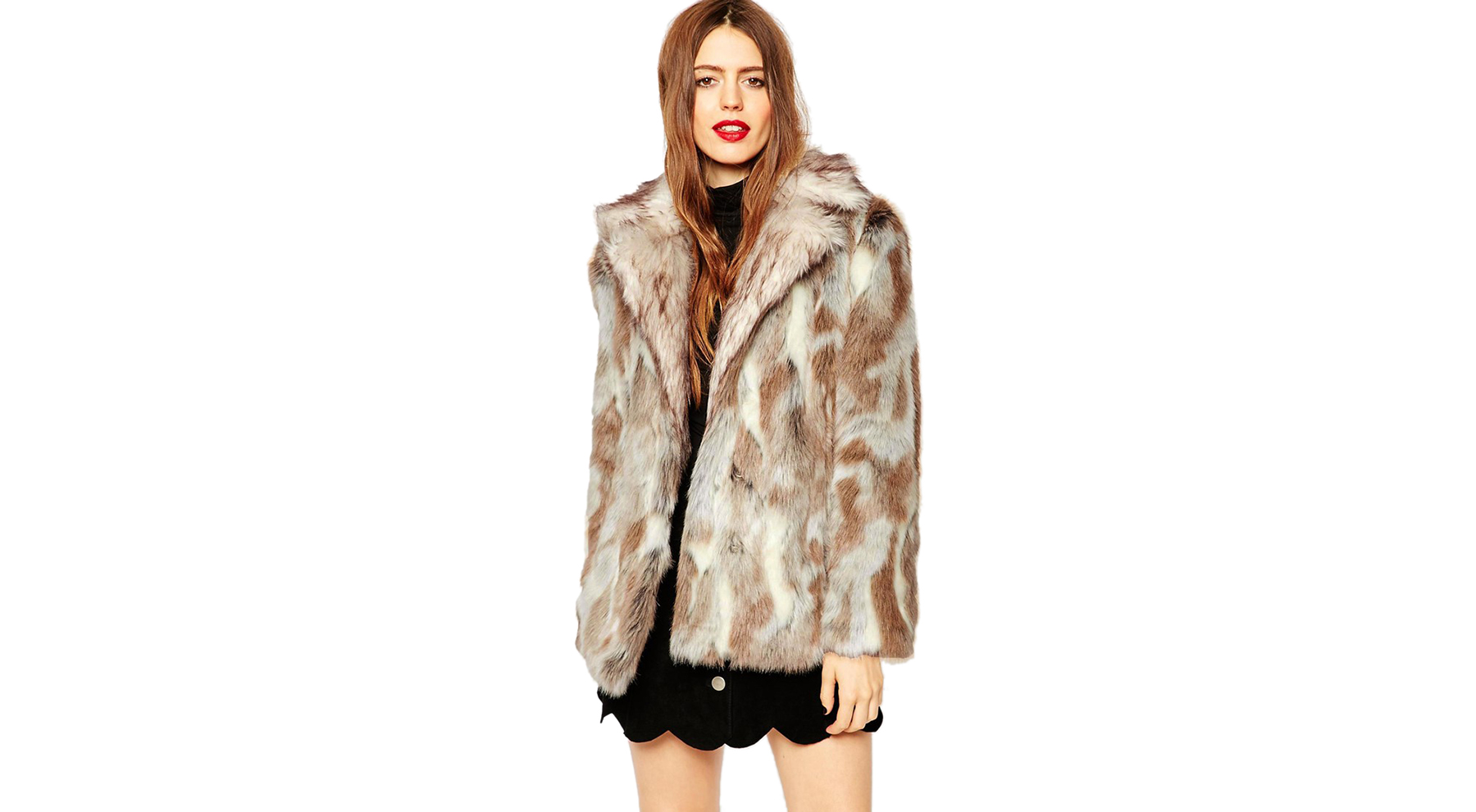 ASOS Coat in Faux Rabbit Fur with Contrast Collar