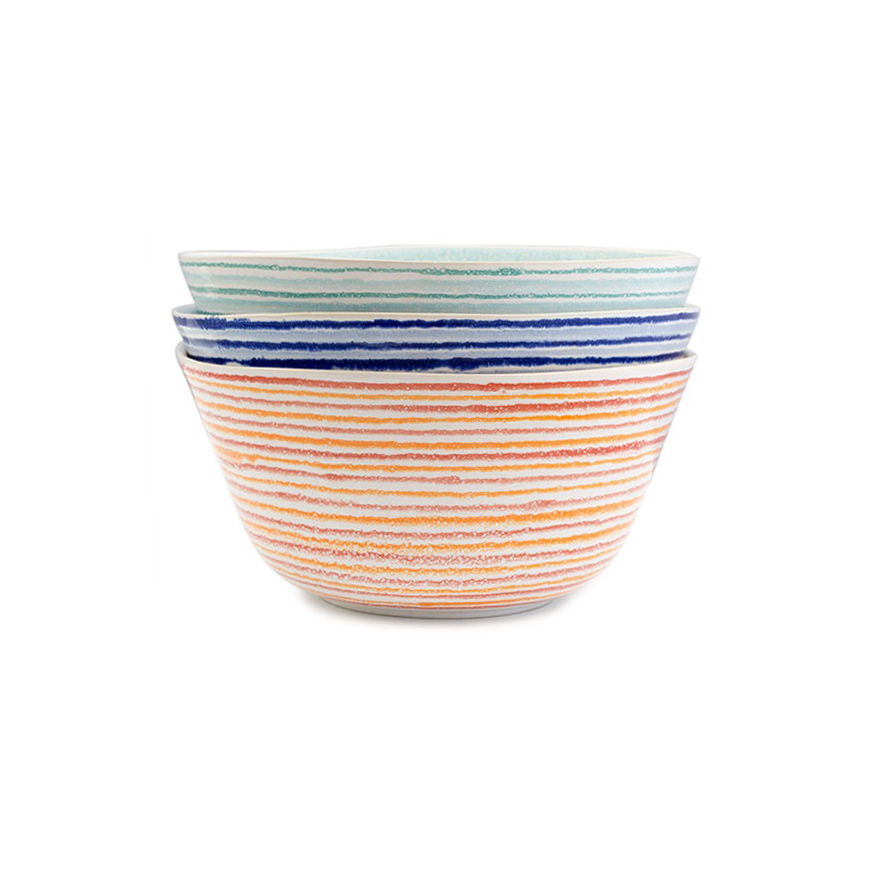 Farmstead Stoneware Striped Serving Bowl