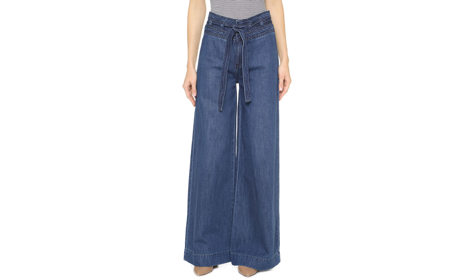 Free People Clean Belted Flare Jeans