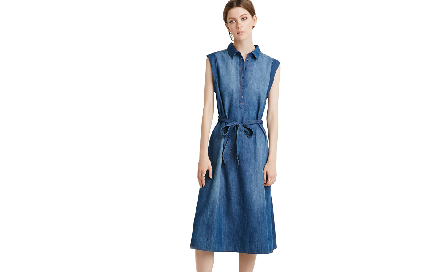 Forever 21 Belted Chambray Popover Dress