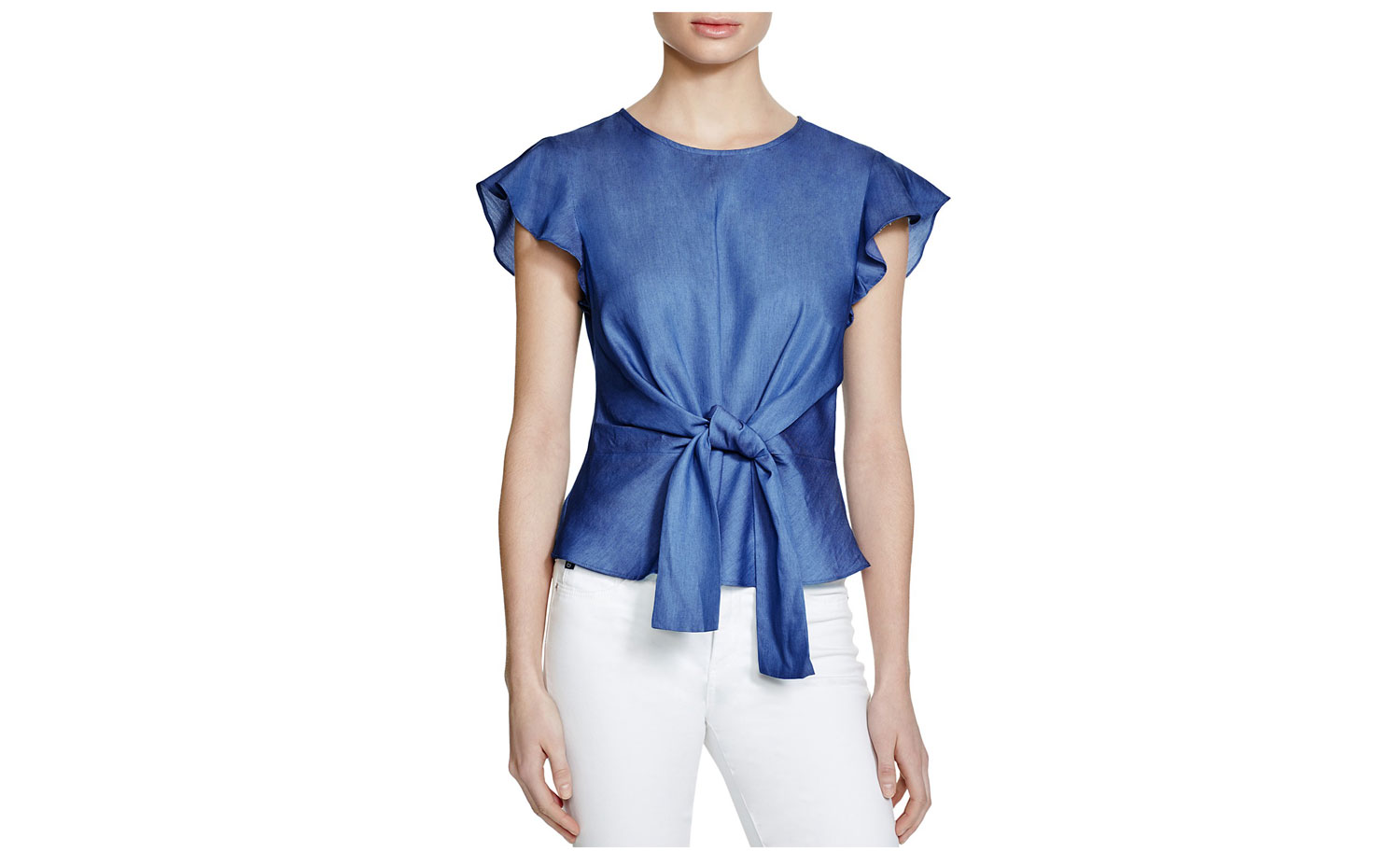 Lucy Paris Belted Ruffle Sleeve Chambray Top