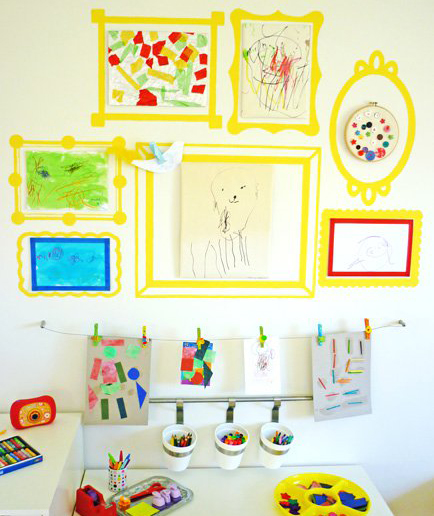 Kids' art on wall with washi tape